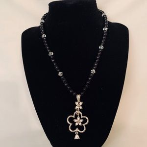 Beaded Black Floral Necklace